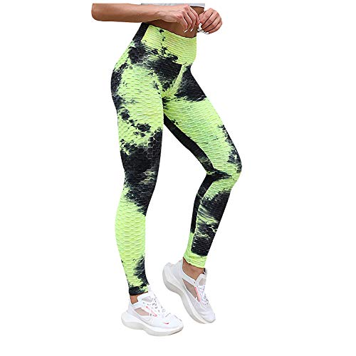 Geilisungren Damen Hohe Taille Geraffte Yoga-Hosen Bauch Kontrolle Schlankheit Leggings Mode Tie-Dye Gedruckt Workout Laufen Butt Lift Strumpfhosen