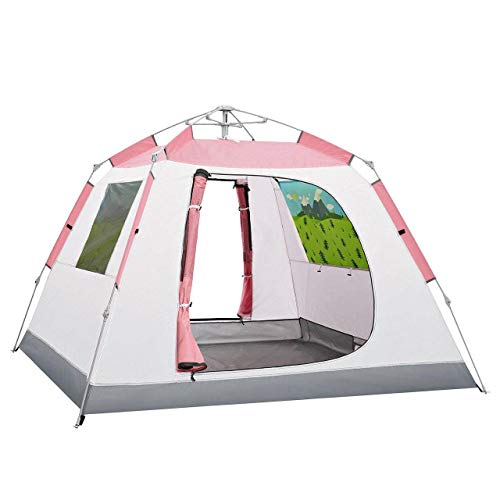 HUNOL Camping Tent, Pop Up Tent Portable Tent for 3-4People Outdoor-A