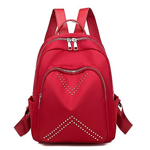 MIMITU La mochila impermeable para mujer, bandolera, mochila escolar de tela oxford para adolescentes, mochila de viaje ligera para mujer, rojo