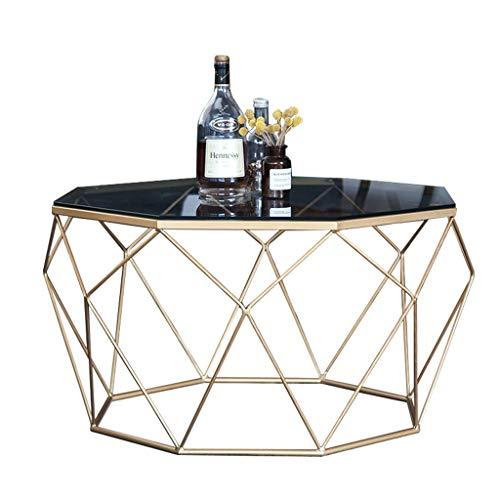WXiaJ-tavolino da caffè Tavolino da caffè in Ferro battuto, Combinazione di Vetro temperato e Metallo, Design Unico, Elegante e Lussuoso, per la casa del Ristorante dell'hotel, Oro