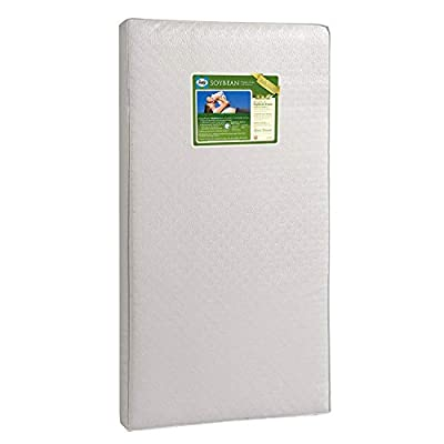 """Sealy Soybean Foam-Core Toddler & Baby Crib Mattress - Lightweight Hypoallergenic Soy Foam, Air Quality Certified Foam, Durable Waterproof Cover, Extra Firm, Design Pattern May Vary, 51.7"""" x 27.3"""
