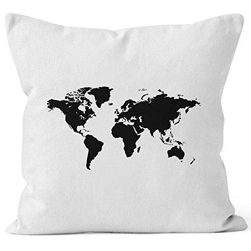 Autiga bedruckter Kissenbezug 40x40 Weltkarte World Map Kissen-Hülle Deko-Kissen Baumwolle weiß 40cm x 40cm