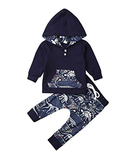Toddler Infant Baby Boys Dinosaur Long Sleeve Hoodie Tops Sweatsuit Pants Outfit Set (3-4 Years, Navy Blue&Pocket)