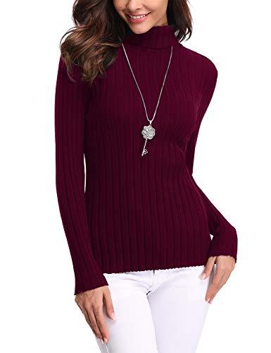 Aibrou Jersey de Cuello Alto para Mujer Sólido Ligero Suave Elástico Manga Larga Pull-Over Suéter
