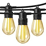 LED Outdoor String Lights 48FT with Edison Vintage Shatterproof Bulbs and Commercial Grade Weatherproof,Heavy-Duty Decorative LED Patio String Lights for Wedding,Gathering