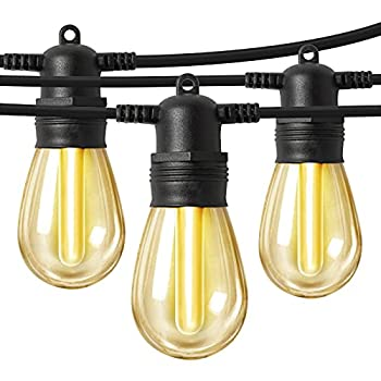 LED Outdoor String Lights 48FT with 15 Edison Vintage Shatterproof Bulbs and Commercial Grade Weatherproof,Heavy-Duty Decorative LED Patio String Lights for Wedding,Gathering