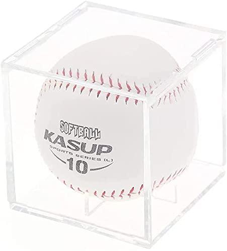 Estuche de exhibición de béisbol, acrílico transparente, caja de almacenamiento de béisbol cuadrada con base de soporte, caja de exhibición para pelota de tenis, softball y pelota de ping pong