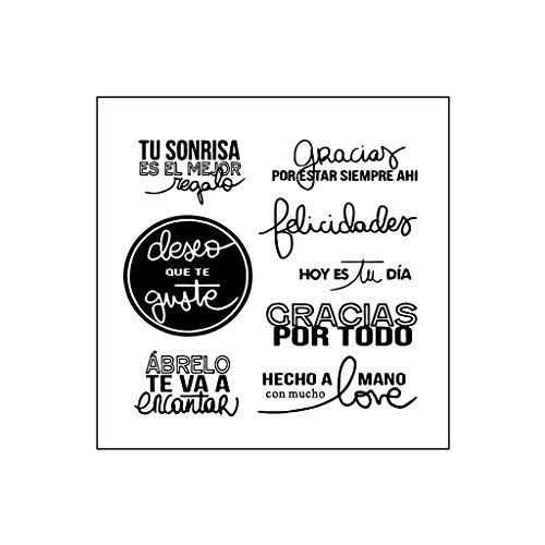 Angelliu - Sellos transparentes para manualidades, letras de silicona, para scrapbooking, gofrado, álbum de fotos, papel decorativo, tarjeta artesanal