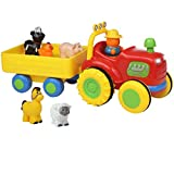 Top Right Toys Farm Animal Sounds Hayride Tractor Set for Toddlers with 5 Animals and Farmer