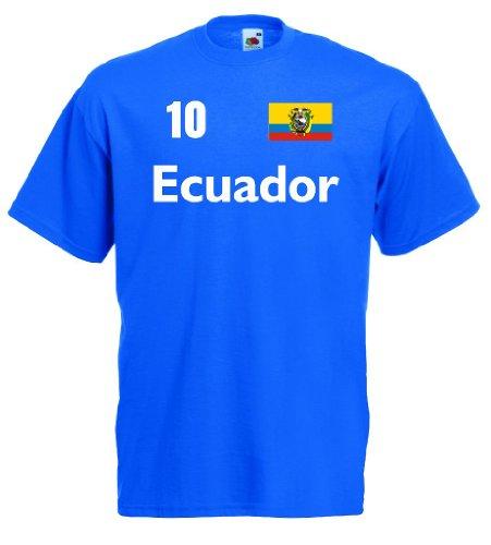Fruit of the Loom Ecuador Herren T-Shirt Los Tricolores Trikot Nr.10 royal S