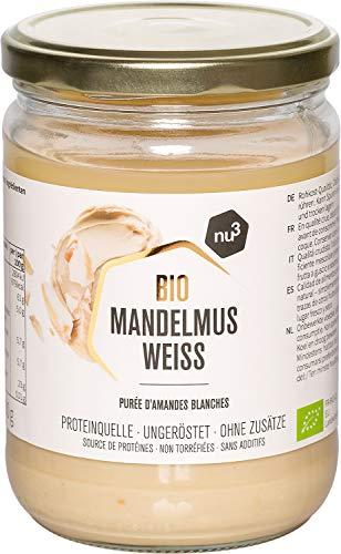 nu3 Purée d'amande Blanche Bio Vegan 500g - Amandes complètes d'Espagne et d'Italie - Idéal comme matière grasse saine et source de protéine végétale - Alternative sans gluten à la pâte à tartiner