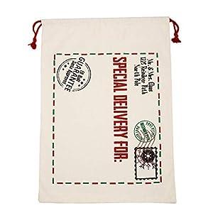 LILIHOT Vintage Sackleinen Weihnachten Santa Sack Große Leinwand Frohe Weihnachten Santa Sack Xmas Stocking Rentier Geschenk Aufbewahrungstasche Große Jute Weihnachts Geschenktüten