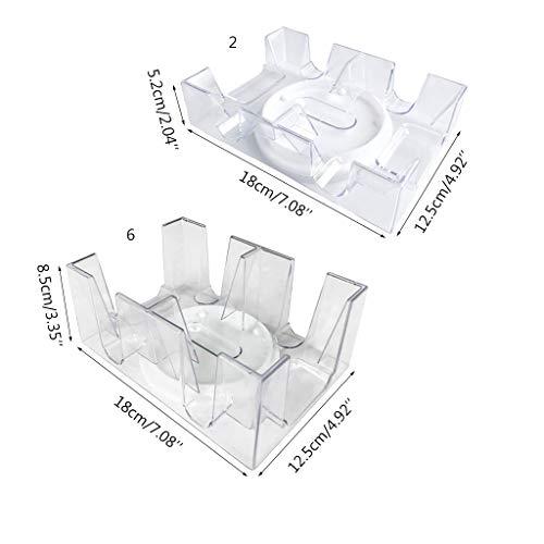 CAFFAINA 2/6 Deck rotierendes Spielkartenfach Transparent Poker Card Box Casino Party Spiel -Transparent