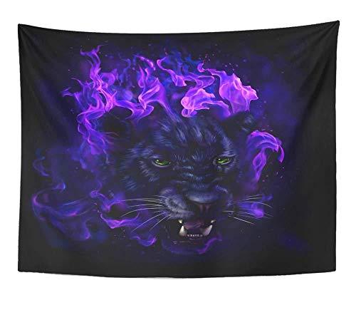 Kunstwerk Wandbehang Panther Kopf In Flammen Digitales Gemälde Voll Jaguar Tier Große Schwarze Wandteppiche Matratzen- (59X79Zoll) (150X200Cm)