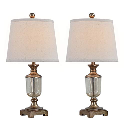 HiiARug Rustic Farmhouse Table Lamps Set of 2, 22-inch Miner Lantern Table Lamp with Oatmeal Drum Shade Clear Glass for Living Room Bedroom Nightstand Family