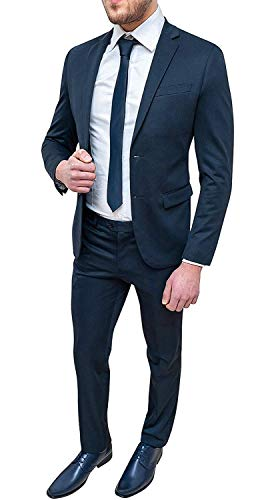 Evoga Abito Completo Uomo Blu Scuro Tessuto Elasticizzato Slim Fit Elegante (52)