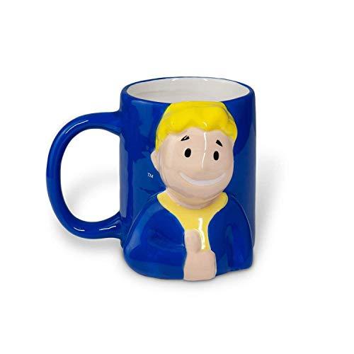 Taza de café oficial Fallout Vault Boy [AZUL MOLDEADA 20 oz] Taza de cerámica Fallout 4 tazas de té Taza GOTY Gamer Taza moldeada Pip Boy CON LICENCIA OFICIAL de JustFunky
