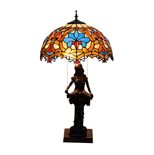 Tiffany Style Tafellampen, 16 inch, retro glasverlichting, 2 peertjes, bureau, antiek licht, hars basis voor vriendin, woonkamer, slaapkamer, bedlampje, 220 V, E27,40 W (40 × 69 cm)