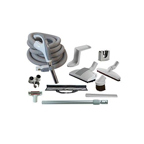 Zubehör-Set für Zentralstaubsauger / Einbaustaubsauger / Staubsaugeranlage mit Zentralstaubsauger Schlauch, Teleskopstange und viel Zubehör