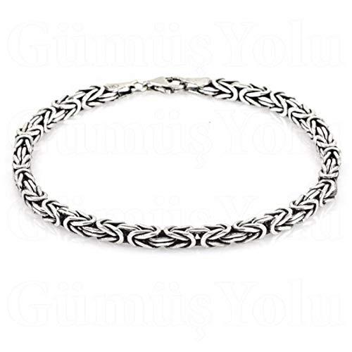 FeinWert Armband Königsketten Design rhodiniert 925 Sterling Silber vierkant Kette (Rhodiniertes Silber/Breite 4.0 mm, 21.00)