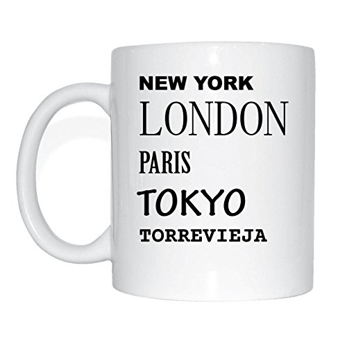 JOllify TORREVIEJA Kaffeetasse Tasse Becher Mug M3659 - Farbe: weiss - Design 2: New York, London, Paris, Tokyo