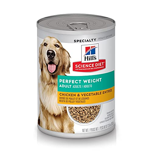 Hill's Science Diet Wet Dog Food, Adult, Perfect Weight for Weight Management, Chicken & Vegetable Recipe, 12.8 oz Cans, 12 Pack