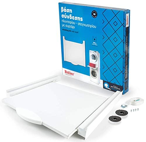 Roller Stacking Kit Verbindungsrahmen mit Ablage für Waschmaschine Trockner 60x60 cm Weiß