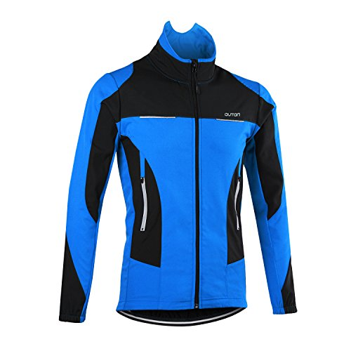 OUTON Men's Cycling Jacket Windproof Breathable Lightweight Reflective Warm Thermal Stand-up Collar Waterproof MTB Mountain Bike Jacket (Blue, XL)