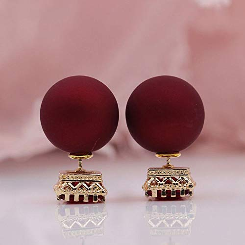 CHQSMZ Earring 328 Anniversary 585 Rose Gold Red Square Resin Artificial Zircon Spherical Ball Stud Earrings Women Wedding Party Jewelry