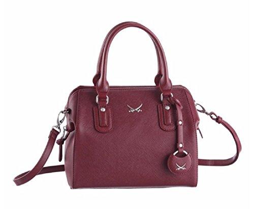 Elegante Sansibar Bowling Bag Damen Henkeltasche B-675 Merlot 26x16x22cm Tasche