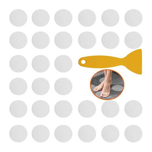 Yuning 30 Stück Anti Rutsch Aufkleber,10CM Durchmesser Rund Selbstklebenden Antirutsch Sticker,mit Kunststoffschaber,für Badewanne und Dusche Transparent Badewannenmatte rutschfest
