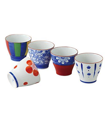 saikai Toki 52671 Japanische Keramik Hasami-yaki Ochoko Sake-Becher 250 ml – Set mit 5 Tassen – traditionelles mehrfarbiges Muster