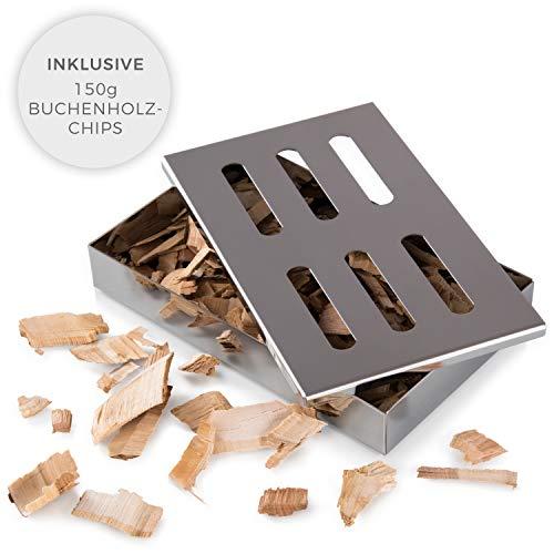 Blumtal Smoker Räucherbox aus rostfreiem Edelstahl - Gas-Grillzubehör oder Holzkohlegrill, 20x13x3,5cm, Silber, inklusive Buchenholz-Chips (150g)
