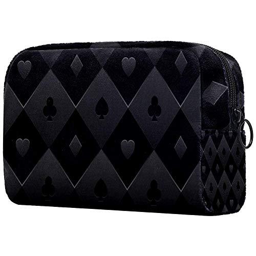 Poker Tisch Kosmetiktasche Kosmetiktasche Reise Aufbewahrungsbox Tragbare Kosmetiktasche Münzgeldbörse Reisetasche mit Reißverschluss für Damen und Mädchen