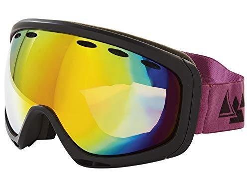 Crivit Ski und Snowboardbrille Skibrille 100% UV-Schutz Schwarz-LilaBand