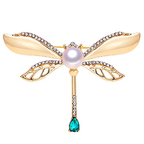 Nuevo broche de libélula vintage de broche de perlas de perlas para mujer broche de oro pins natural joyería de perlas de agua dulce