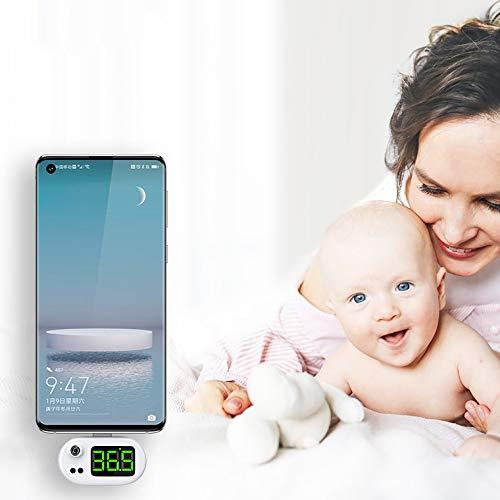 YP Teléfono Móvil Inteligente Termometro Sin Contacto con Pantalla Digital LED & Recordatorio de Alta Temperatura Adecuado para Teléfono Android iOS Apple