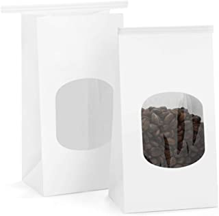 BagDream Bakery Bags with Window Kraft Paper Bags 100Pcs 3.54x2.36x6.7 Inches Tin Tie Tab Lock Bags White Window Bags Coffee Bags Cookie Bags Treat Bags Popcorn Bags