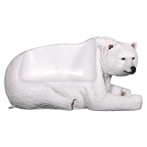 Design Toscano NE1600177 Brawny Polar Bear Bench Sculpture, White