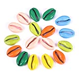 OBSEDE 60pcs Stainless Steel Colorful Spiral Shell Beads Cowrie Shells Charms and Beads Findings for DIY Craftring Jewelry Making Beach Accessories