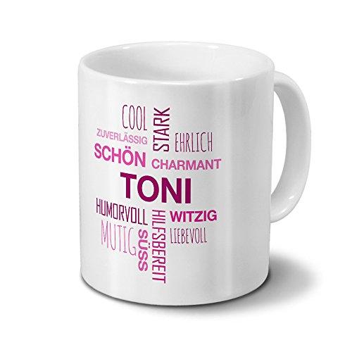 printplanet Tasse mit Namen Toni Positive Eigenschaften Tagcloud - Pink - Namenstasse, Kaffeebecher, Mug, Becher, Kaffeetasse