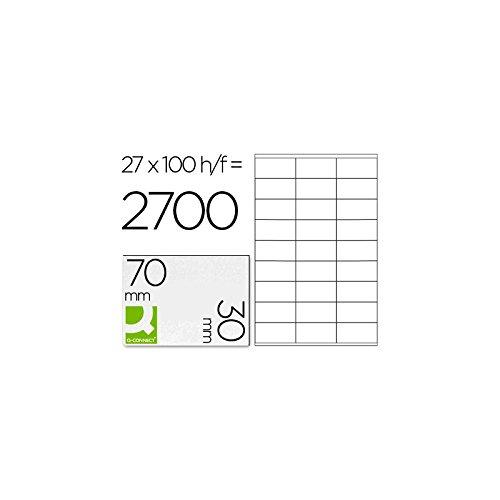 Q-Connect 925680 Lot de 2700 Etiquettes adhésive coins droits imprimante jet encre laser copieur boîte 100 feuilles 70 x 30 mm Assorties
