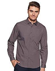 Dennis Lingo Mens Solid Casual Shirt Grey