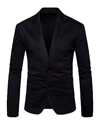 Runyue Herren Beiläufiger Sakko Blazer Jacke Zwei Tasten Freizeit Anzug Jacken Reine Farbe Jackett Anzugjacken Schwarz L