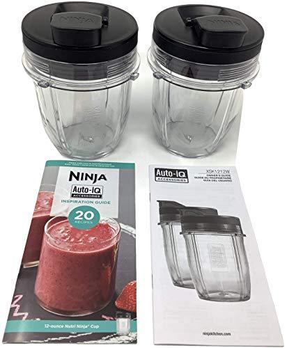 Genuine Nutri Ninja 2-Pack 12oz Tritan Cup w/Spout Lid Recipe for Auto-iQ BL450 BL456 BL480 BL482 BL490 BL494 BL641 BL680 BL681 BL682 BL687 BL2012 NN102 Blender