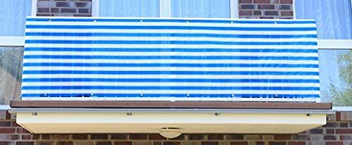 Smart Deko Blau&Weiß 8x0,9m Balkonsichtschutz, Balkonverkleidung, Windschutz, Sichtschutz und UV-Schutz für Balkon, Gartenanlagen, Camping und Freizeit (78822)