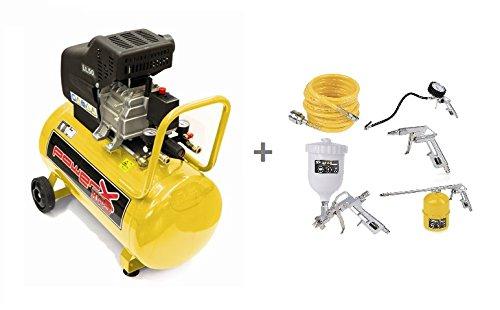 Compressore lubrificato ad olio 50 LT, 2 HP, 8 BAR, 170 LT/MIN, 2 connettori, 2 manometri + Kit 5 accessori pneumatici (4 pistole + tubo spiralato)