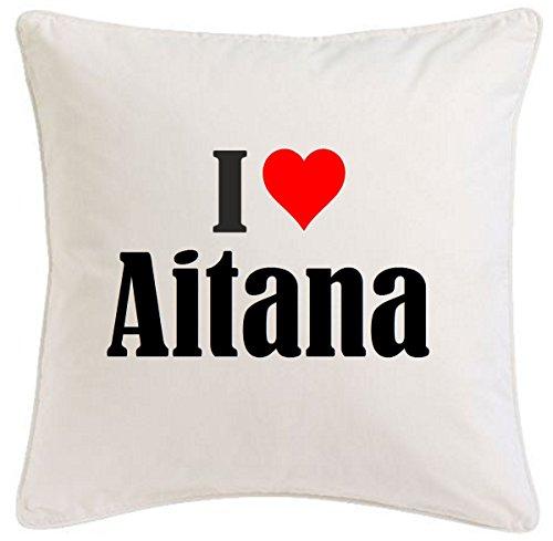 Reifen-Markt la Funda de Almohada I Love Aitana 40cm x 40cm Microfibra Regalo Ideal y la decoración de Buen Gusto para Cada Sala de Estar o el Dormitorio en Color Blanco con Cremallera