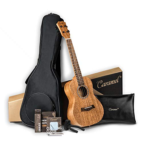 ALL SOLID MAHOGANY WOOD ! Tenor Ukulele Caramel 26 inch Professional ukulele Instrument Kit Small Hawaiian Guitar ukalalee Pack Bundle Gig bag, Digital Tuner, Strap, Strings Set