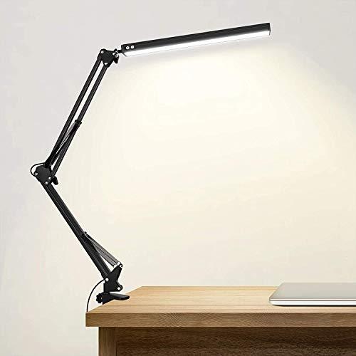 Lampada da tavolo a LED con morsetto, lampada da tavolo regolabile da tavolo per testiera, banco di lavoro, compito, studio, lavoro, redazione, lettura, cucito o maglieria …